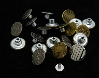 6 Pcs 0.67 Inches Retro Bronze/Silver/Black Snap Fasteners Metal Shank Buttons For Jeans