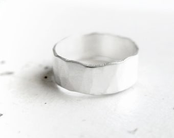 Stone Ring - Rustic Silver Wedding Band - Unique Couple Ring - Asymmetrical Promise Ring - Promise Ring for Him - Rustic Men's Wedding Band