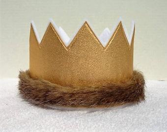 Wild One Birthday Crown, Gold Birthday Crown, 1st Birthday Crown, Wild Thing Birthday Hat, Birthday Party Hat, Kids Crowns, King Crown