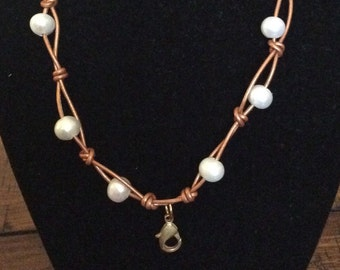 Fresh Water Pearl and Leather Memory Locket Necklace