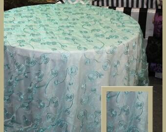 Organza Ribbon Seamless Tablecloth Round [72u0027u0027/90u0027u0027/108u0027u0027] [90 X 132] [90 X  156] Aqua