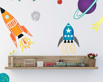Coloured Spaceships Wall Sticker Set