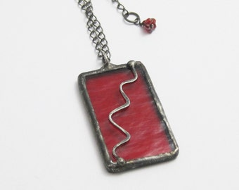 Red Stained Glass Pendant