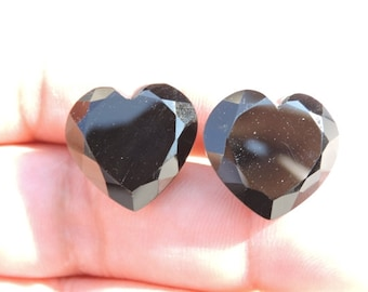 2 Pieces Extremely Beautiful Natural Black Onyx Faceted Carved Heart Shaped Briolette Size 20X20 MM