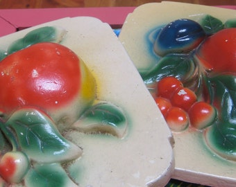 Set 2 Vintage Chalkware Fruit Wall Plaques