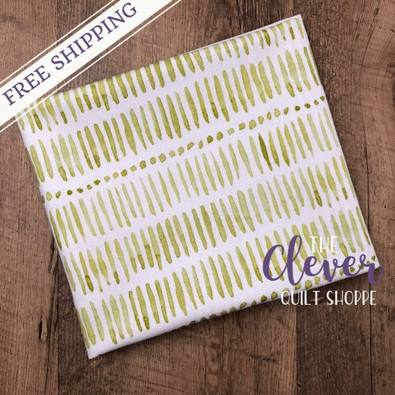 Yardage, Michael Miller Fabric, Project Dovetail, Tall Grass, Herb, Green, Watercolor, Lime, Geometric, Stripe, Quilting,
