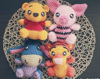 Free Shipping-Winne the Pooh inspired crochet doll,Winnie the Pooh Plushies -Made to order