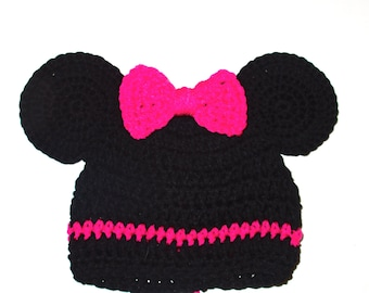 Adorable  Mini Mouse Hat With Ears Child-Adult Hand Crochet