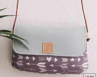 Shoulder bag with leather handle, handbag with printed arrows, woman bag, fabric bag, small bag. Grey and Blue