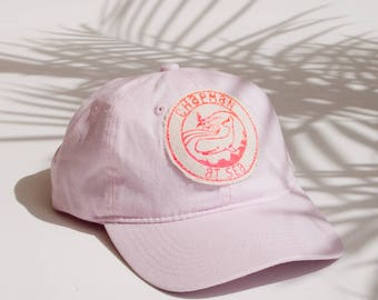Pink Cap / Beach Hat / Baseball Hat Surf Patch Surfer Girl Boat