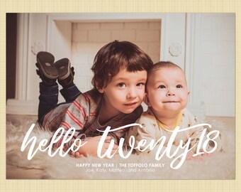 New Years photo card - Hello 2018, Twenty Eighteen, Twenty18  - script holiday greetings card