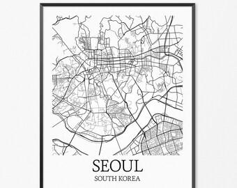 Seoul Map Art Print, Seoul Poster Map of Seoul Decor, Seoul City Map Art, Seoul Gift, Seoul South Korea Art Poster