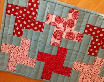 modern table runner, Red and turquoise, pinwheel, table runner, quilted table runner, blue table runner, red table runner, wall hanging,