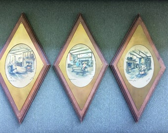 Mid Century Modern Atomic Shaped Paul Porter Prints framed in Wood and Brass Plaque Set of 3