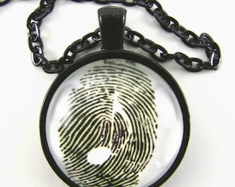 MUSICAL FINGERPRINT Necklace -- Music in the body, soul and finger tips,  Musical art 8th note in a thumb print, Gift for music lovers