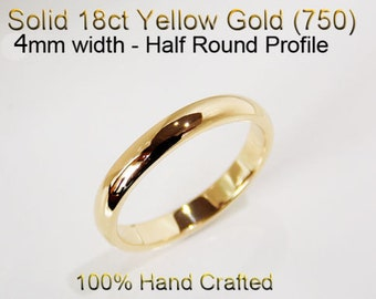 18ct 750 Solid Yellow Gold Ring Wedding Engagement Friendship Half Round Band 4mm