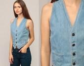 Denim Vest Sleeveless Jacket 70s Jeans Vest Blue Jean Biker Top 1970s Boho Hippie Vintage Hipster Bohemian Extra Small xs