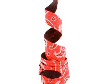 Wired Headband, Twist Tie Headband, Reversible Headband, Paisley Headband, Western Red and White Paisley Reversible Wide Wired Headband