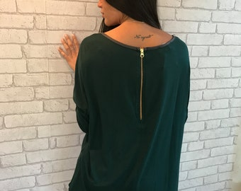 MOTHERS DAY GIFT, Casual Blouse for Women, Long Sleeves Blouse, Long Sleeve Shirt, Green Blouse, Long Sleeved Blouse, Womens Clothes, Gifts