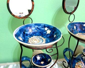 Italian Holly Antique Lavabo, Bathroom Décor, Hand Washing Set, Blue Lavabo, Sun & Moon Lavabo