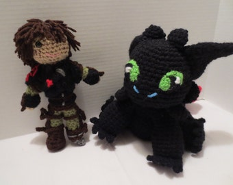 Hiccup and Toothless How to Train Your Dragon 2 crochet dolls