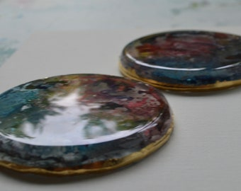 "Set of two ""Galaxy"" resin coasters"