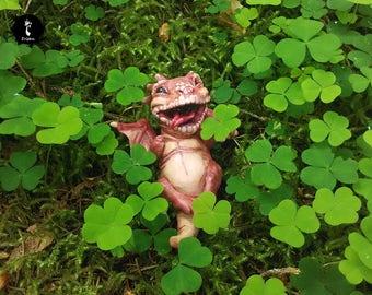Baby elemental earth red dragon mythical hatchling drake in basket OOAK magic prop