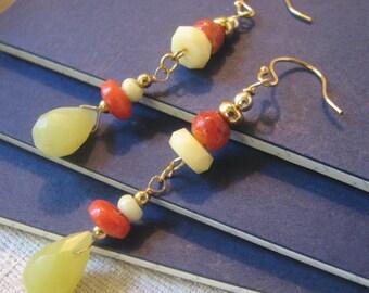 Yellow and orange dangle earrings