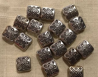 Silvertone Square Beads ~ 8mm x 8mm x 2mm ~ 25 per pack