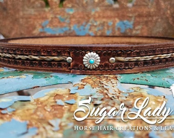 """Horse Hair and 3/4"""" Stamped Leather Hatband - Braided Horsehair - Saddle Tan"""