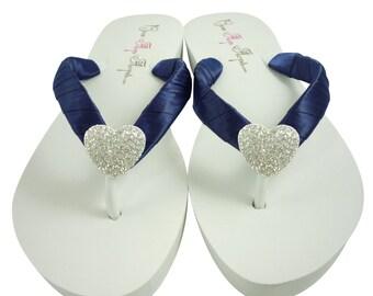 Heart Wedding Flip Flops, Bridesmaid Flip Flops, Navy Blue- Bride Wedges, Ivory White Heel Flat-  choose colors Bridal Shoes