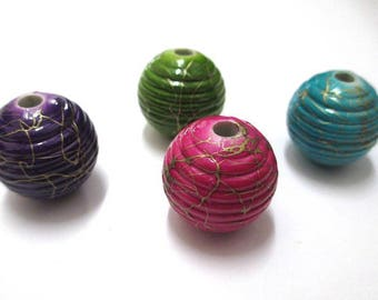 4 acrylic beads mix of golden color, 19mm