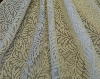 High End Designer Cotton Sheer Fern Leaf Pattern Ecru 4 Yards