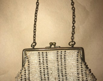 Cream and Gunmetal Beaded Vintage Coin Purse