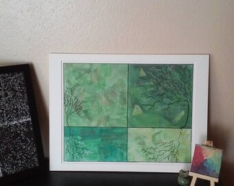 Reflecting in Green - Four Trees Design Collage