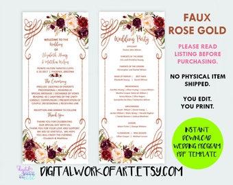 Rose Gold Floral Wedding Program Template, DIY Floral Boho Wedding Ceremony Editable PDF Template, instant download, #lc