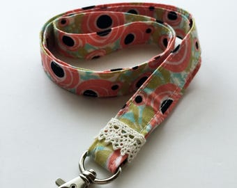 Floral lanyard - Key holder lanyard - teachers lanyard - coral lanyard - floral key fob - cute lanyard - womens lanyard - Coral key holder