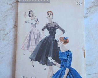 Butterick 7551 1950s Fitted Bodice Flared Skirt Dress Cut but Complete