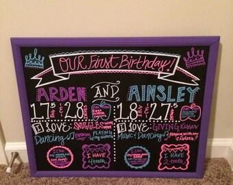 First Birthday Twin Chalkboard