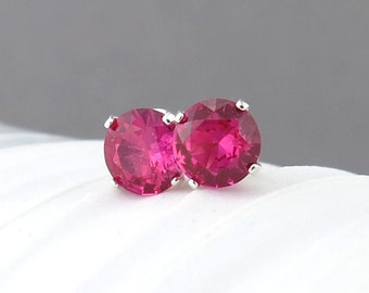 Ruby Stud Earrings Small Silver Earrings Ruby Earrings Gemstone Post Earrings 6mm July Birthstone Jewelry Sterling Silver Jewelry