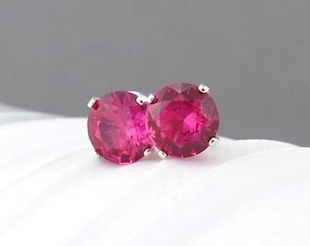 Ruby Stud Earrings Small Silver Earrings Ruby Earrings Gemstone Post Earrings 6mm July Birthstone Jewelry Sterling Silver Jewelry
