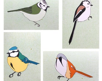 British Tits bird cards (individual or set) blue tit illustrated card , eco friendly recycled blank card