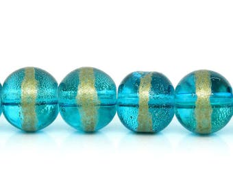Set of 10 beads glass 8mm Golden Lake blue
