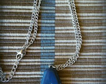 Antique Blue & Silver Fleur de Lis Necklace