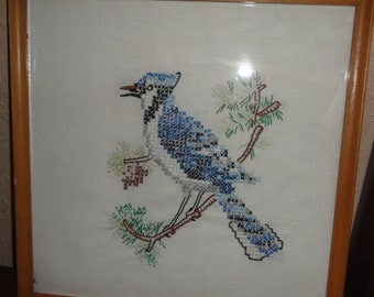 Vintage Blue Jay Cross Stitch
