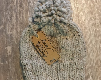 "Ready-to-Ship! ""The POM""(adult) hand knit, modern and trendy toque in grey."