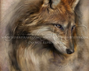 Ava...Wolf Wildlife Study... Print - Your Choice of Size - Wolf Wildlife Art Painting