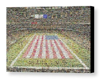 Unique, Large New Orleans Saints Mosaic Art Print of Mercedes Benz Superdome of 350 Player Card Images.  All the Great Past & Present Stars.