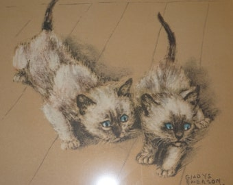1941 Ping & Pong Siamese Kittens offset lithograph print, Gladys Emerson Cook, First Edition, Grosset and Dunlap Blue Eyed Kittens