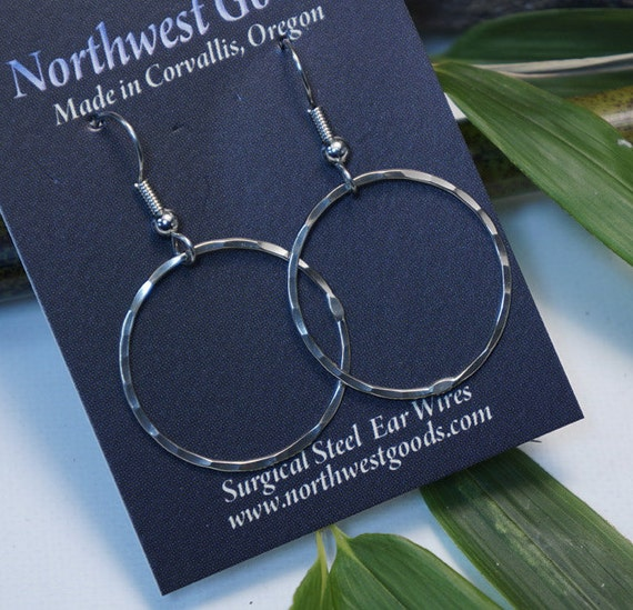 Nickel silver hoop earrings